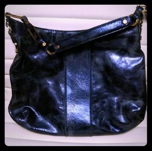 Tory Burch midnight blue metallic leather hobo